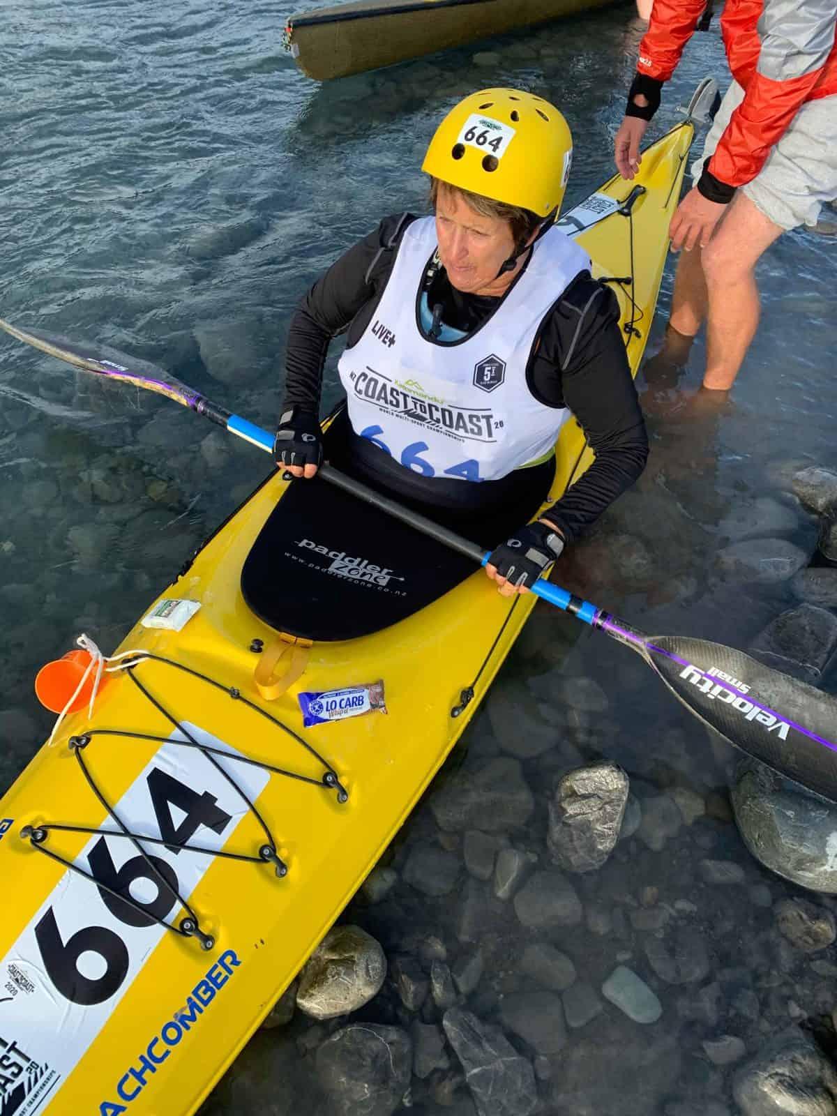 Brodie Kane's Mum in Kayak Coast to Coast New Zealand 2019